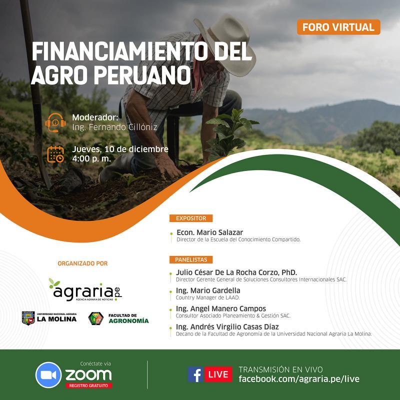 Destacados especialistas analizarán y propondrán soluciones al problema del acceso al crédito en el agro peruano