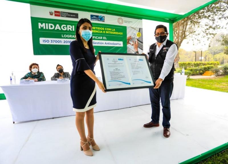 Midagri recibió certificación ISO 37001:2016 sobre sistemas de gestión antisoborno y combate contra la corrupción
